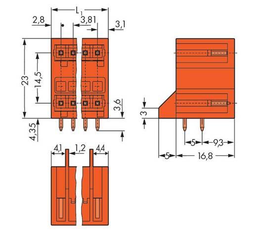 WAGO 734-438/001-000 Male header (standaard) 2140 Totaal aantal polen 16 Rastermaat: 3.81 mm 50 stuks