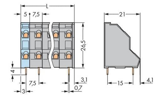 Dubbeldeksklem 2.50 mm² Aantal polen 20 736-510 WAGO Grijs 21 stuks