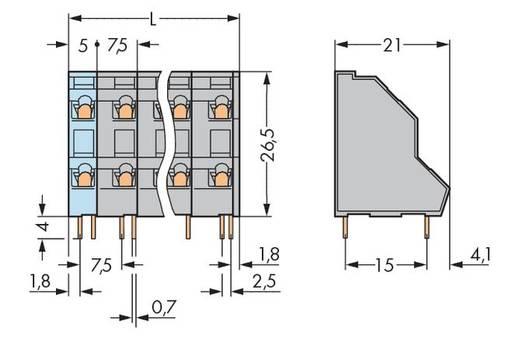 Dubbeldeksklem 2.50 mm² Aantal polen 32 WAGO Grijs 14 stuks