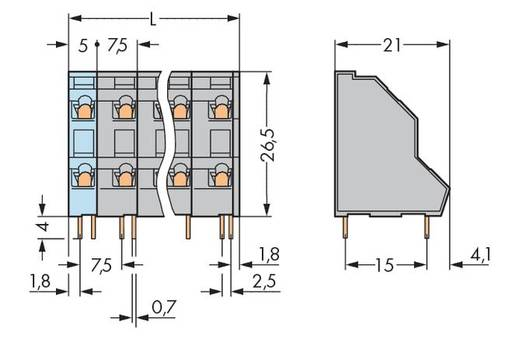 Dubbeldeksklem 2.50 mm² Aantal polen 8 736-554 WAGO Grijs 63 stuks