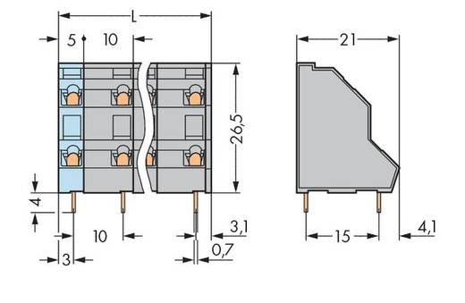 Dubbeldeksklem 2.50 mm² Aantal polen 6 736-703 WAGO Grijs 70 stuks
