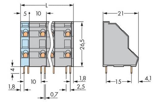 Dubbeldeksklem 2.50 mm² Aantal polen 16 736-758 WAGO Grijs 21 stuks
