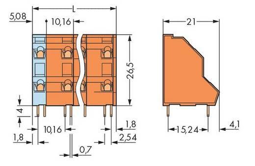 Dubbeldeksklem 2.50 mm² Aantal polen 16 736-858 WAGO Oranje 21 stuks