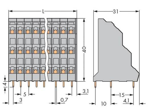 Drie niveau klem 2.50 mm² Aantal polen 18 WAGO Grijs 32 stuks
