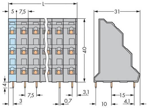 Drie niveau klem 2.50 mm² Aantal polen 9 T. DECK IN LINE 7.5MM GR WAGO Grijs 48 stuks