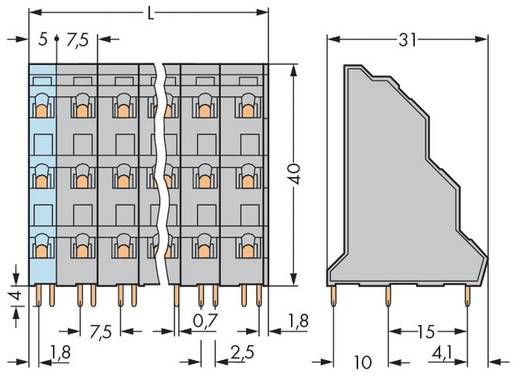 Drie niveau klem 2.50 mm² Aantal polen 48 737-566 WAGO Grijs 8 stuks
