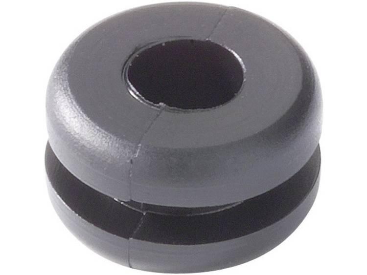 HellermannTyton HV1502-PVC-BK-N1 Kabeldoorvoering Klem-Ã (max.) 6.5 mm PVC Zwart 1 stuks