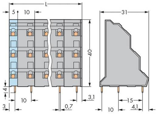 Drie niveau klem 2.50 mm² Aantal polen 24 737-708 WAGO Grijs 12 stuks