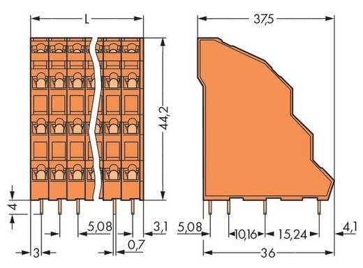 "Vier niveau klem 2.50 mm² Aantal polen 16 QUAD DECK PCB TERMINAL 4 POLE 0.2""PI WAGO Oranje 36 stuks"