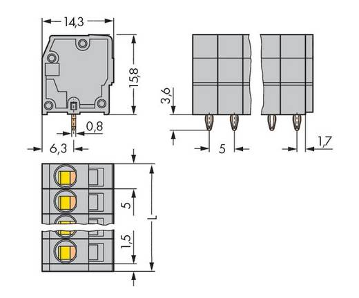 Veerkachtklemblok 2.50 mm² Aantal polen 3 739-103 / 100-000 WAGO Grijs 280 stuks