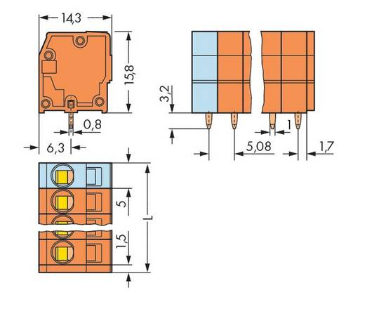 Veerkachtklemblok 2.50 mm² Aantal polen 10 739-160 WAGO Oranje 80 stuks