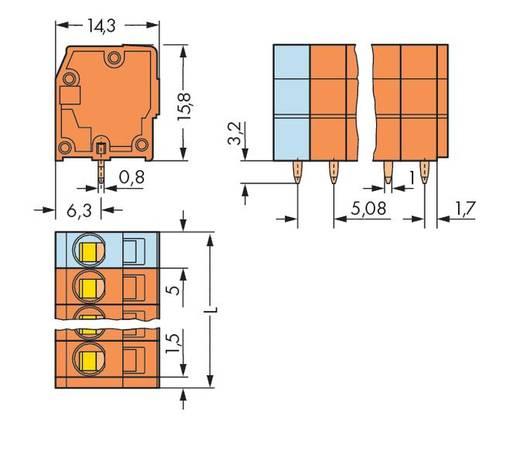 Veerkachtklemblok 2.50 mm² Aantal polen 4 PCB TERM.STRIP 1 PIN/POLE 4-P.ORANGE WAGO Oranje 220 stuks