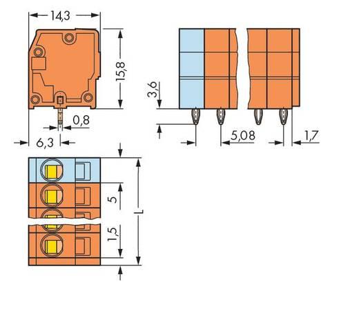Veerkachtklemblok 2.50 mm² Aantal polen 4 739-154 / 100-000 WAGO Oranje 220 stuks