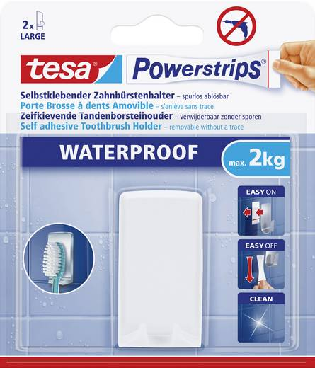 tesa 59702 tesa Powerstrips® Waterproof tandenborstelhouder Wit