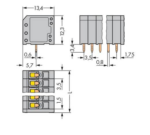 Veerkachtklemblok 1.50 mm² Aantal polen 4 739-304 WAGO Grijs 300 stuks