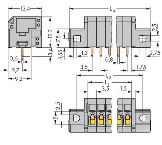 Veerkachtklemblok 1.50 mm² Aantal polen 12 739-312 / 001-000 WAGO Grijs 80 stuks