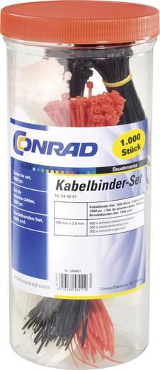 Conrad Components 544991 Assortiment kabelbinders 100 mm Zwart, Rood, Naturel 1000 stuks