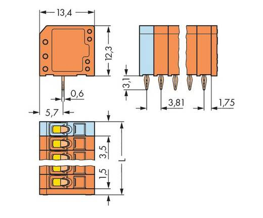 Veerkachtklemblok 1.50 mm² Aantal polen 12 WAGO Oranje 100 stuks