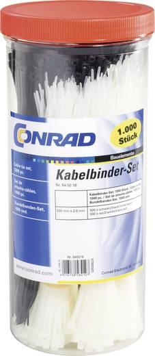 Conrad Components 545016 28530c209 Assortiment kabelbinders 200 mm Zwart, Naturel 1000 stuks
