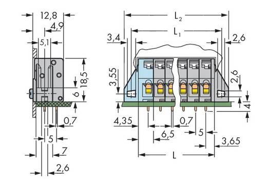 Veerkachtklemblok 2.50 mm² Aantal polen 9 WAGO Grijs 80 stuks