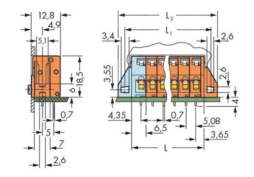 Veerkachtklemblok 2.50 mm² Aantal polen 7 WAGO Oranje 80 stuks