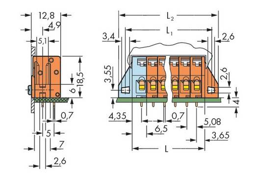 Veerkachtklemblok 2.50 mm² Aantal polen 8 741-238 WAGO Oranje 80 stuks