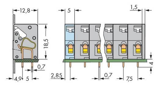 Veerkachtklemblok 2.50 mm² Aantal polen 10 WAGO Grijs 60 stuks