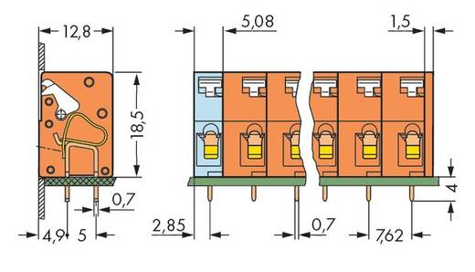 Veerkachtklemblok 2.50 mm² Aantal polen 5 741-405 WAGO Oranje 120 stuks