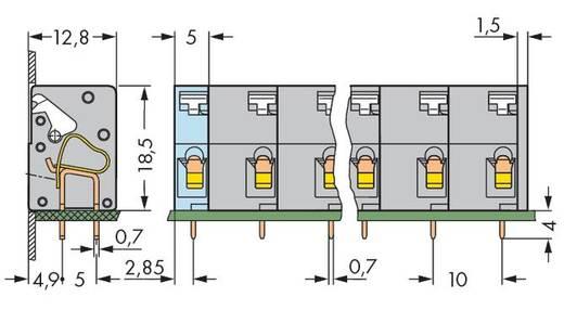 Veerkachtklemblok 2.50 mm² Aantal polen 5 WAGO Grijs 100 stuks