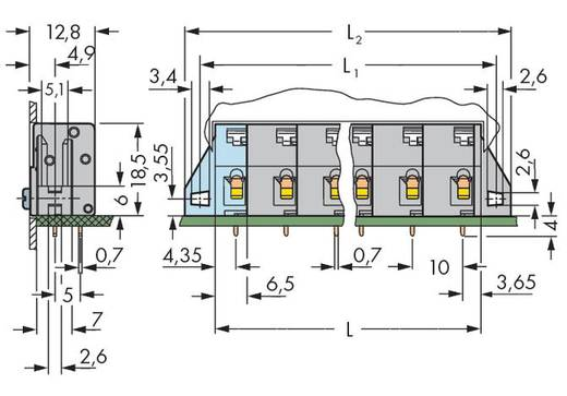 Veerkachtklemblok 2.50 mm² Aantal polen 3 WAGO Grijs 120 stuks