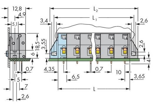 Veerkachtklemblok 2.50 mm² Aantal polen 4 WAGO Grijs 80 stuks