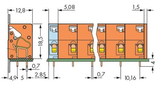 Veerkachtklemblok 2.50 mm² Aantal polen 4 741-604 WAGO Oranje 120 stuks