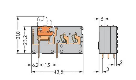 Veerkachtklemblok 2.50 mm² Aantal polen 1 742-151 WAGO Grijs 200 stuks