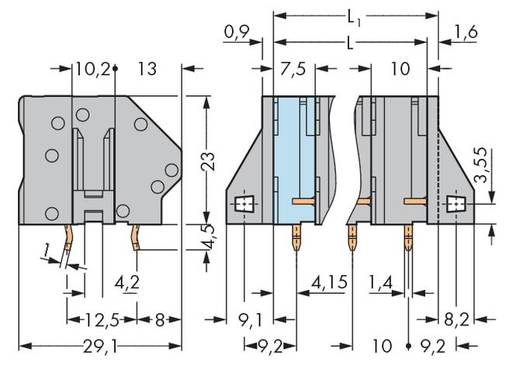 Veerkachtklemblok 6.00 mm² Aantal polen 5 GDS-KLEMMENL.6QMM 5-POL.10MM GREY WAGO Grijs 40 stuks