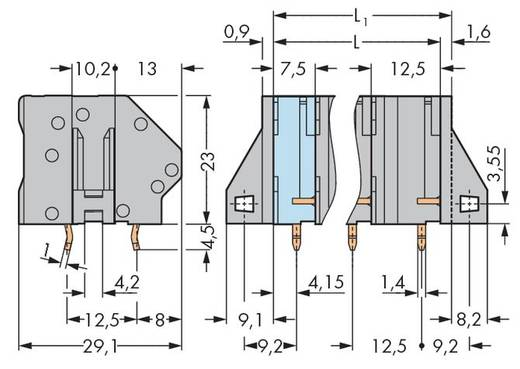 Veerkachtklemblok 6.00 mm² Aantal polen 5 745-1405 WAGO Grijs 32 stuks