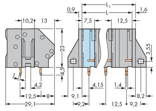 Veerkachtklemblok 6.00 mm² Aantal polen 9 WAGO Grijs 16 stuks