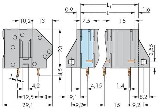 Veerkachtklemblok 6.00 mm² Aantal polen 9 WAGO Grijs 8 stuks