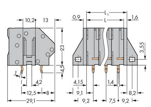 Veerkachtklemblok 6.00 mm² Aantal polen 5 WAGO Grijs 48 stuks