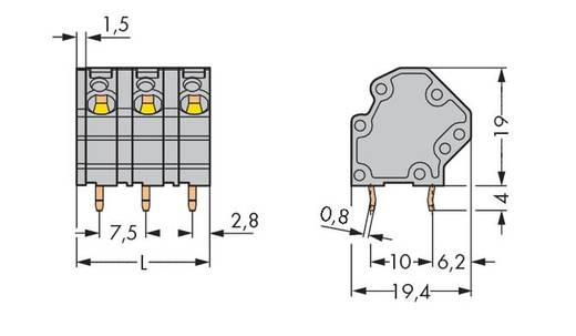 Veerkachtklemblok 4.00 mm² Aantal polen 12 WAGO Grijs 30 stuks