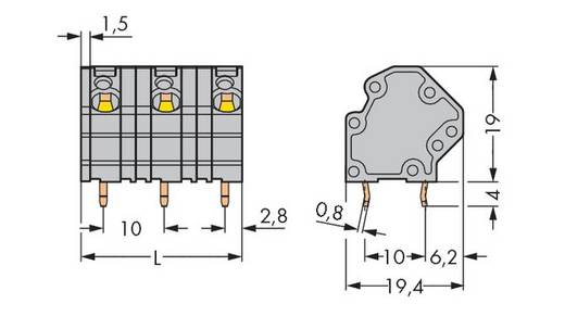Veerkachtklemblok 4.00 mm² Aantal polen 2 GDS-KLEMMENL. 4QMM 2-POL.10MM O.BR. WAGO Grijs 192 stuks