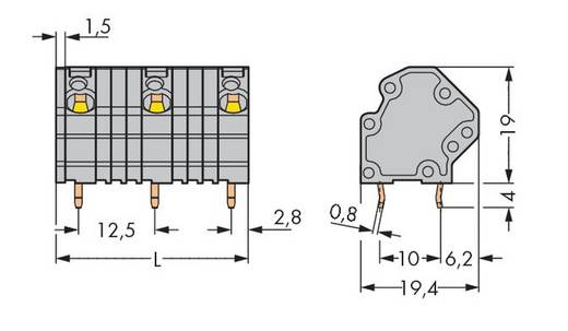 Veerkachtklemblok 4.00 mm² Aantal polen 5 GDS-KLEMMENL.4QMM 5-POL.12,5MM O.BR. WAGO Grijs 40 stuks