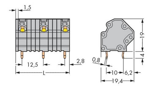 Veerkachtklemblok 4.00 mm² Aantal polen 5 WAGO Grijs 40 stuks