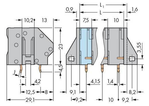 Veerkachtklemblok 6.00 mm² Aantal polen 10 WAGO Grijs 16 stuks