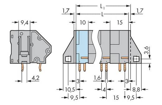 Veerkachtklemblok 16.00 mm² Aantal polen 4 745-604 / 006-000 WAGO Grijs 16 stuks