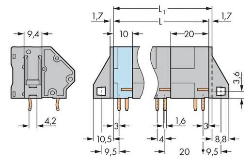 Veerkachtklemblok 16.00 mm² Aantal polen 3 TERM STRIP WITH F/FLANGES 3-P, GREY WAGO Grijs 20 stuks