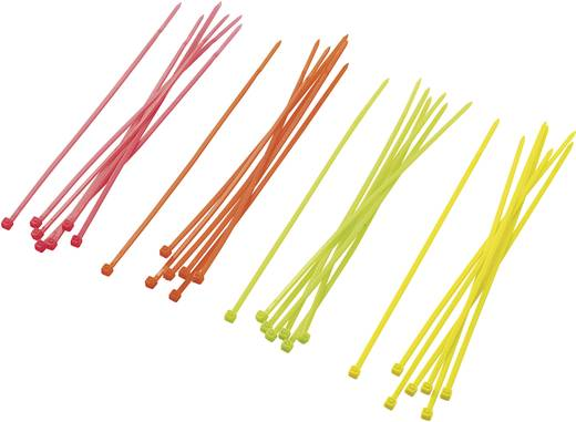 Conrad Components ST150M ST150M Assortiment kabelbinders 150 mm Neon-groen, Neon-oranje, Neon-geel, Neon-pink 80 stuks