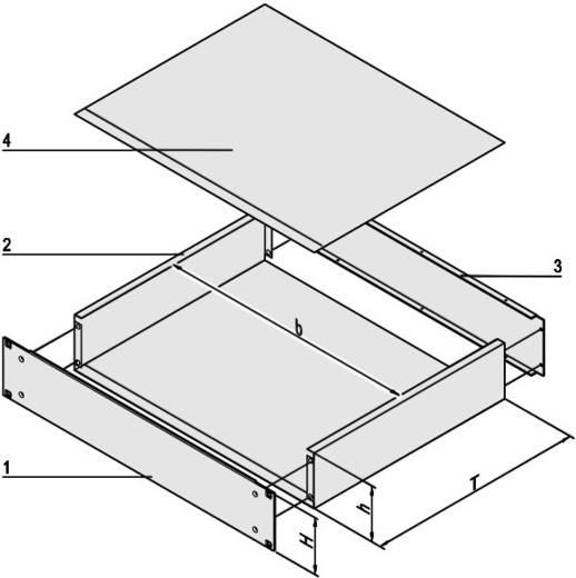 """Schroff 20860-127 19"""" modulesteunen 88.1 x 340 Plaatstaal 1 stuks"""