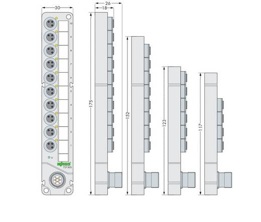 WAGO 757-343 M8 sensor / actuator box 1 stuks