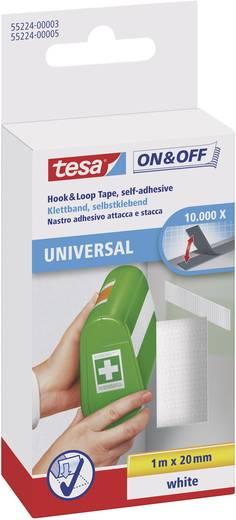 TESA On & Off Klittenband om vast te plakken Haak- en lusdeel (l x b) 1000 mm x 20 mm Wit 1 stuks