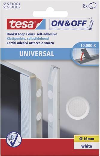 TESA On & Off Klittenband punten om vast te plakken Haak- en lusdeel (Ø) 16 mm Wit 8 paar